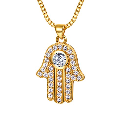 Suplight Gold Hand of Fatima Pendant Cubic Zirconia Hamsa Hand Evil Eye Charm Necklace Protection Jewelry Gift for Her