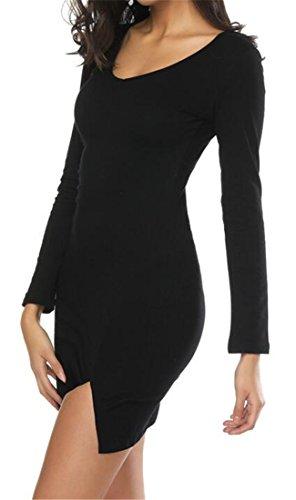Dames Cromoncent Moulantes Robes Solides Clubwear Sexy Extensible Ras Du Cou Du Parti 1