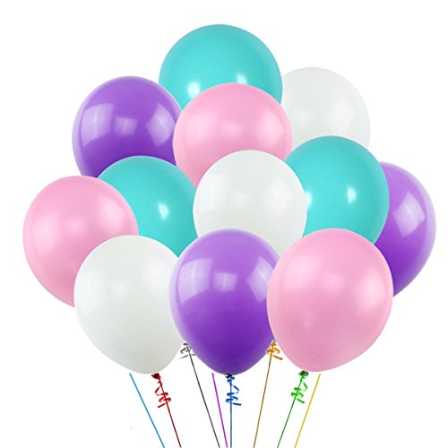 K KUMEED 12 Inch Unicorn Balloons White Purple Dark Purple Blue Assorted Latex Balloons for Birthday decorations Baby Shower Party Supplies (100 Pcs) -