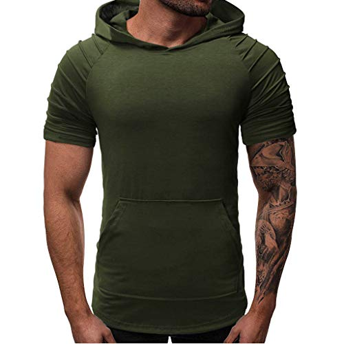 iHPH7 T-Shirt Mens Slim Fit Short Sleeve Lightweight Hoodie Fashion Summer Mens Pleats Slim Fit Pocket Raglan Short Sleeve Hoodie Top Blouse M Army Green]()