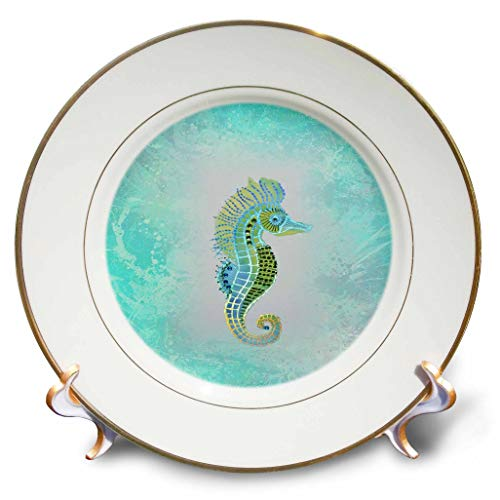 - 3dRose Lens Art by Florene - All Things Aqua - Image of Aqua and Lime Seahorse On Aqua Water - 8 inch Porcelain Plate (cp_317094_1)