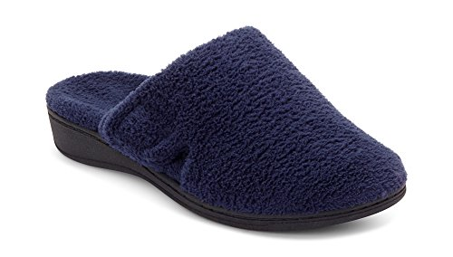 Vionic Women's Indulge Gemma Slipper - Ladies Adjustable Slippers with Concealed Orthotic Support Navy 6 Medium US