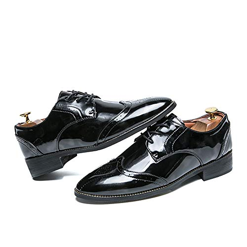 Scarpe da Colore Oxford Uomo Fashion Brogue Britannico Nero in con da Cricket Fashion Verniciata Scarpe Casual Business Stile Pelle Contrasto di Retro HqzSnUHxw