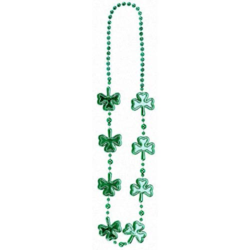 Amscan St. Patrick's Day Green Plastic Shamrock Bead Necklace   Party Accessory, 12 Ct.