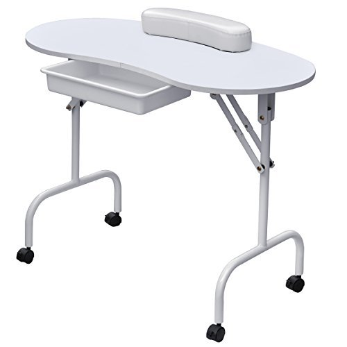 Gotobuy Portable Manicure Table Nail Technician Desk Workstation with Bag & Wrist Rest