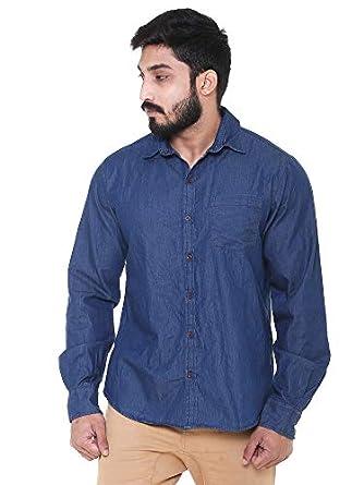 Twist Men's Linen Denim Shirt Regular Fit Solid Full Sleeve Shirt (Navy Blue)