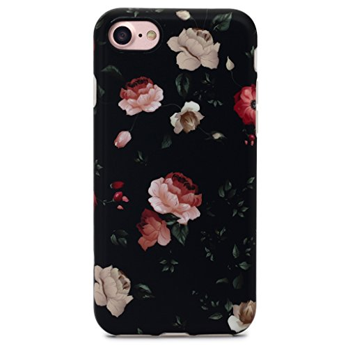GOLINK iPhone 7 Case for Girls/iPhone 8 Case, Floral Series Slim-Fit Anti-Scratch Shock Proof Anti-Finger Print Flexible TPU Gel Case For iPhone 7/iPhone 8 – Flower Black