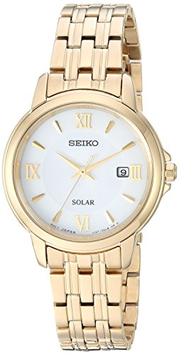Seiko Women's Ladies Dress Japanese-Quartz Watch with Stainless-Steel Strap, Gold, 11.9 (Model: SUT350)