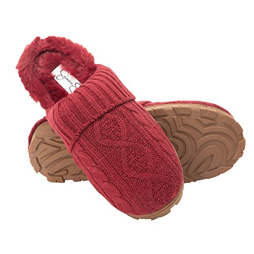 Jessica Simpson Womens Soft Cable Knit Slippers with Indoor/Outdoor Sole (Burgundy Knit, Size Medium)