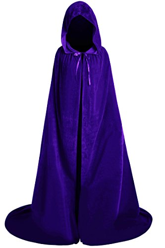 Classic Witch Costumes Plus Size (Unisex Halloween Velvet Full Length Hooded Party Cape Cosplay Costume Cloak (84'', Purple))