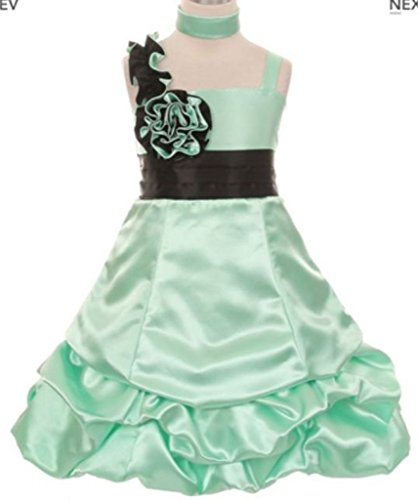 Dress Ombre Bubble (AkiDress Satin Bubble Dress with Two Tone Flower Dress for Little Girl Mint Black 10)