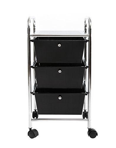 Finnhomy Chrome Metal Frame and 3 Semi-Transparent Black Drawer Plastic Portable Rolling Storage Cart