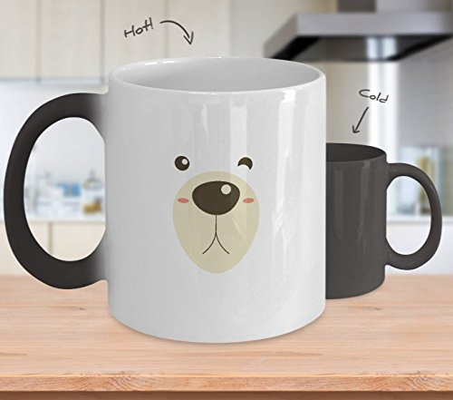 Color Changing Mug Bear Face Halloween Costume Funny Kids Girl Boy Heat Colour Change Mug Gift -