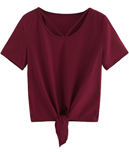 Romwe Women's Short Sleeve Tie Front Knot Casual Loose Fit Tee T-Shirt Burgundy M
