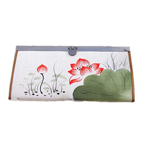 CozyHome HGXC Hand-Painted Cotton Linen Women's Wallet Long Chinese Style Literature Student Wallet -