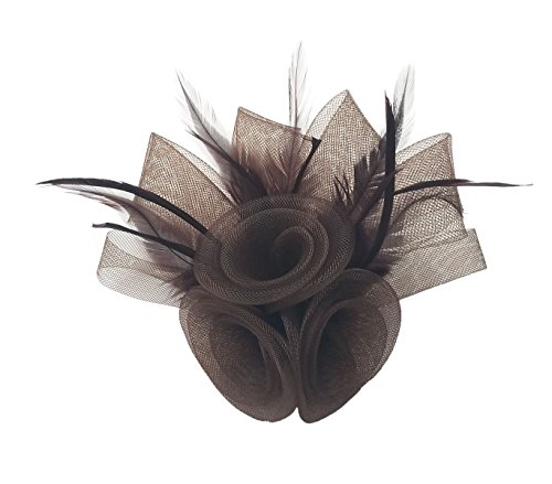 Women Fascinator Hair Clip Headband Feather Flower Cocktail Tea Party Headwear F Brown Taupe