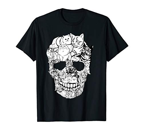 Cat Skull T-Shirt - Kitty Skeleton Halloween Costume Idea