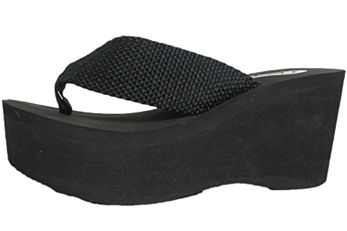 Soda Womens Oxley-S Flip Flop Sandals,Black Pu,8.5 (Thong Platform Shoes)