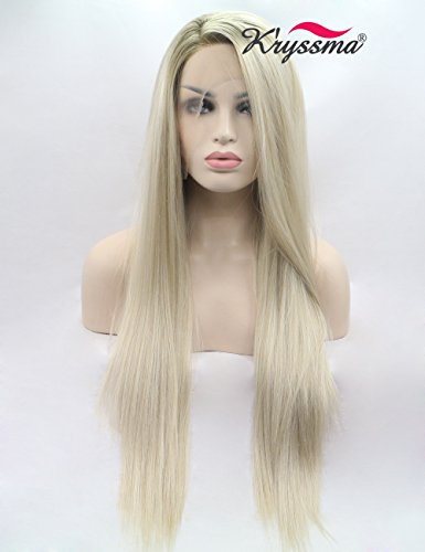K'ryssma Blonde Ombre Lace Front Wigs for Women Long Straight Blonde Synthetic Wigs Dark Roots Mixed Blonde Side Parting Heat Resistant Hair Wig 24 inches