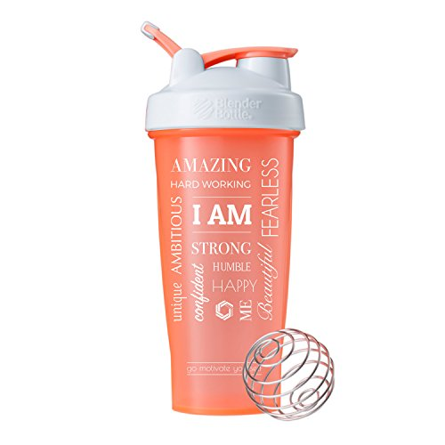 GOMOYO Motivational Quotes on Performa Perfect Shaker Bottle, 28 Ounce Classic Protein Shaker Bottle, Dishwasher Safe, Leak Proof, Multiple Sayings and Colors (I Am - Coral - 28)
