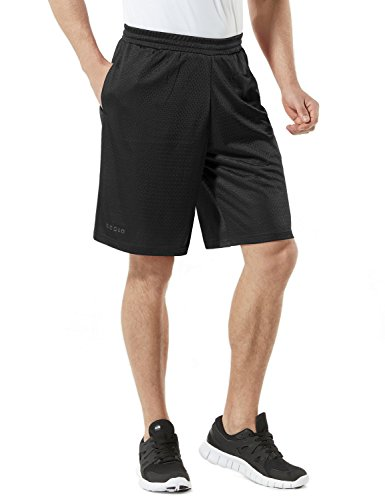 TM-MBS02-BLK_X-Large Tesla Men's Cool Mesh Basketball Shorts Smooth HyperDri With Pockets MBS02 Adult Soccer Shorts