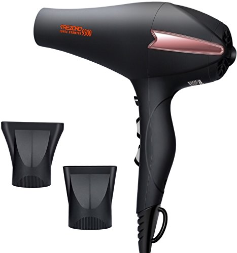 Professional Ionic Hair Dryer, Quiet Ion Blow Dryer with Ceramic Tourmaline, Powerful 1875 watt Salon Hairdryer, Lightweight Compact for Travel - Best Soft Touch Body