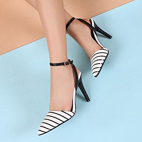 Azbro Mujer Zapatos de Tacón Alto Bomba Correa a Tobillo con Puntera Punta Negro & Blanco