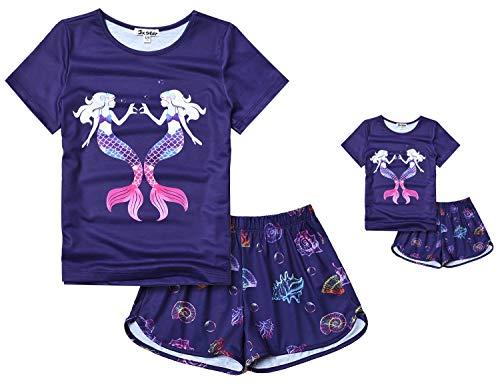 Mermaid Pajamas for Girls Matching Doll & Toddler Kids Pjs Set Summer Clothes