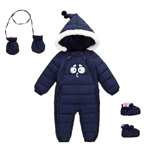 Mumuzhu Toddler Newborn Winter Snowsuit 3Pcs Boys Girls Down Jacket Zipper Bodysuit Snowsuit Gloves Socks 12-24 Month Navy Blue