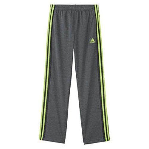 adidas Big Boys Fleece Lined Track Pant (Large-14/16, Dark Grey/Yellow)