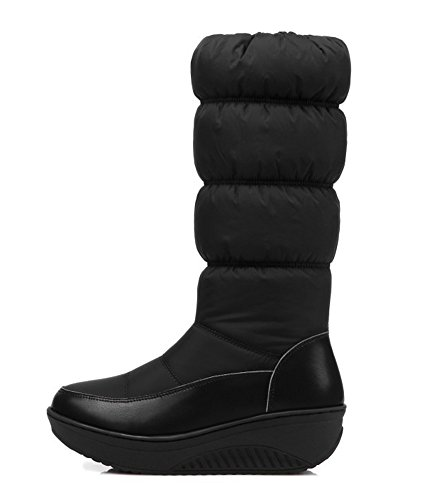 Aisun Womens Warm Comfy Round Toe Side Zipper Thick Sole Platform Low Heels Mid Calf Snow Boots Shoes Black ygYKgzmF