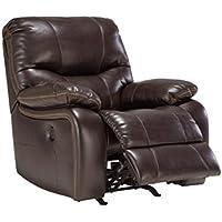 Ashley Furniture Signature Design - Pranas Reclining Rocker Chair - Power Reclining - Brindle Brown