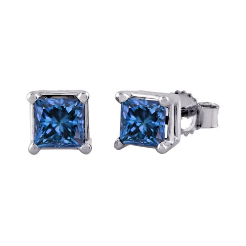 14K White Gold 3/4 ct. Princess Cut Blue Diamond Earring Studs