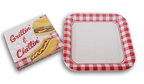 Summer Grillin Chillin Red Gingham Pattern Party Set - (8 )Dinner Plates (18) Napkins