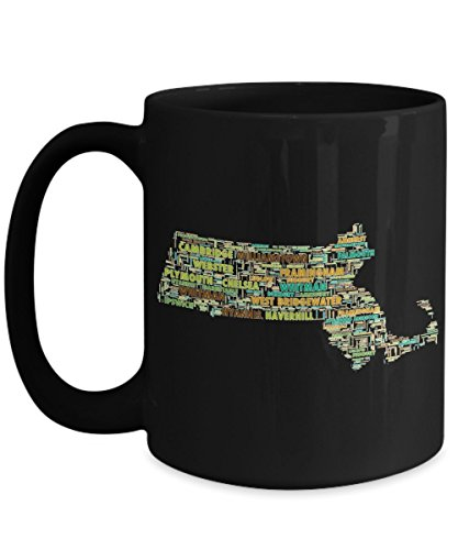 Massachusetts Cities In The Shape Of The State Black 15 oz Coffee - West Westfield City