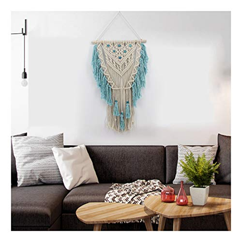 MoreShow Macrame Wall Hanging Sky Blue Lace Tapestry Hand Woven Pendant Decoration House Ceremony Living Room Home Furnishing Accessories-Boho Wall Decor,Woven Wall Art(17.8