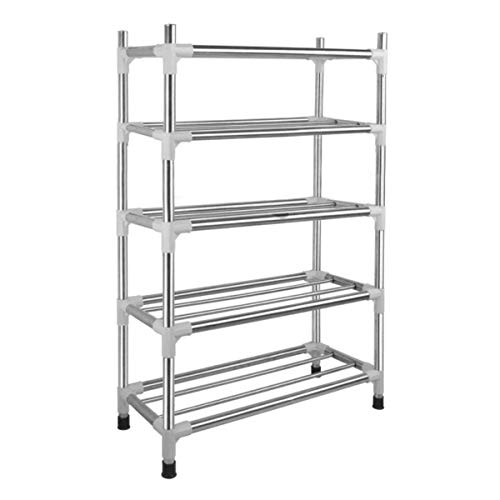 (Stainless Steel Shoe Racks, 15-Pair Free Standing Shoe Rack Metal Shoe Tower Shelf, Kitchen Storage Organizer, Home Office Cabinet, Shelf for Bedroom Bathroom Entryway, Suction Cup Stand Foot (5 Tier))