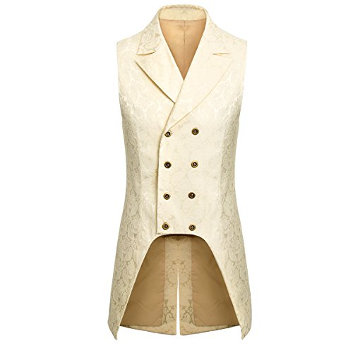 Jila Adult Mens Double Breasted Gothic Steampunk Costume Tailcoat Vest Victorian VTG Brocade Waistcoat (2X-Large, (Breasted Frock Coat)