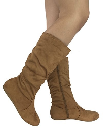 Wells Collection Womens Wonda Boots Soft Slouchy Flat to Low Heel Under Knee High, Tan, 7