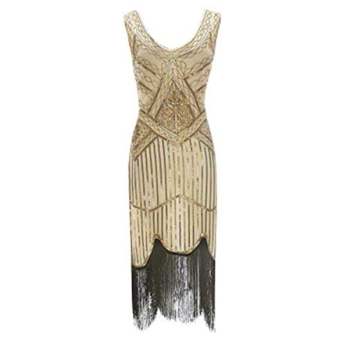High end New Sexy Sleeveless Royal Black Embroidery Fringe Great Gatsby Party Dress Women Sequin Beaded Tassels Hem -