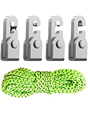 Automatic Lock Hook with 5m Rope,Canopy Hook,Camping Tent Accessories Free Knot Self-Locking Easy Tighten Rope Kit(4pcs/Pack)