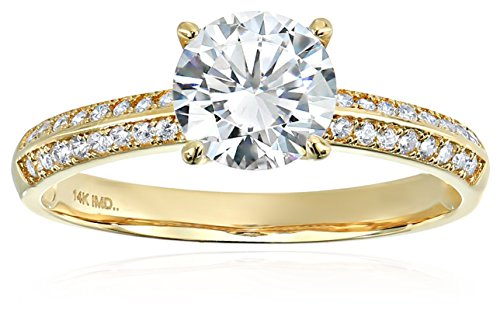 14k Yellow Gold Cubic Zirconia Round Brilliant Double Channel Engagement Ring, Size - Rings Engagement Channel