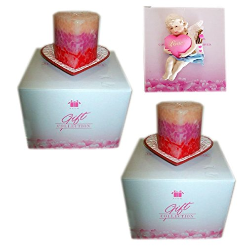 2002 Avon Heart Candle and Holder Set of 2 Gift Bundle