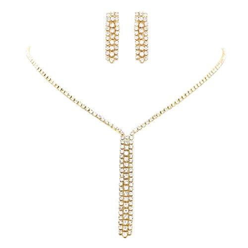 Rhinestone Gold Jewelry Tone Set - Rosemarie Collections Women's Rhinestone Fringe Dangle Necklace and Earrings Set (Gold Tone)