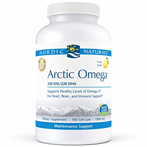 Nordic Naturals Pro Arctic Omega- Fish Oil, 330 mg EPA, 220 mg DHA, Helps Maintain Healthy Omega-3 Levels for Heart, Brain, and Immune Support*, 180 Soft Gels ()