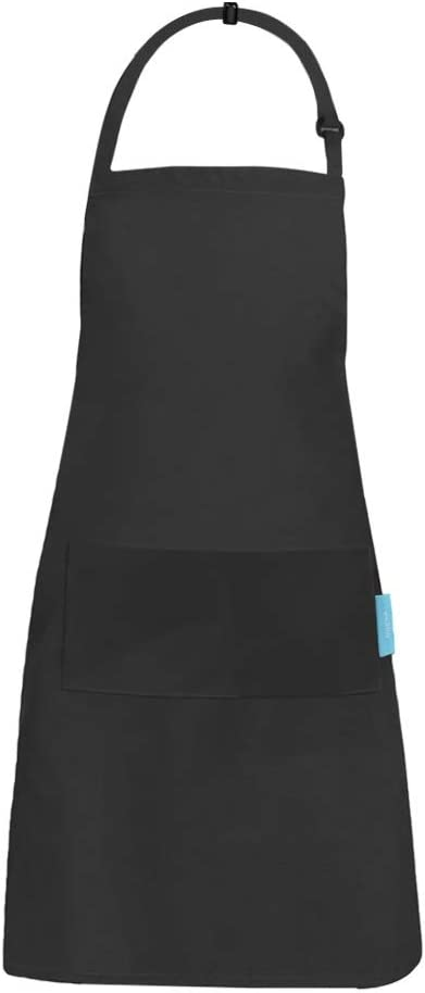 esafio Kitchen Apron Cotton Polyester Cooking Apron with Adjustable Neck Belt and 2 Large Pockets for Men and Women Black