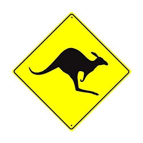 Sign Kangaroo Road (Shirllyn New Quality Metal Road Sign Kangaroo with Graphic Wallaby Crossing Xing Wildlife Animal Caution Hunter Crossing Funny Yellow Diamond Tin Sign Home Decor 12x12 Inches)