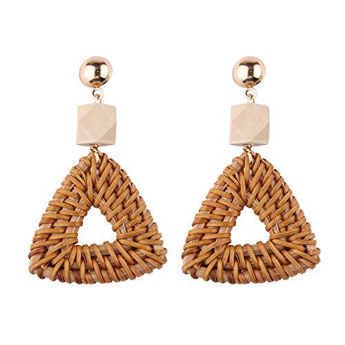 - Handmade Rattan Earrings Bamboo Straw Bohemian Wicker Braid Drop Dangle Earrings Lightweight Geometric Earrings for Women Girls (Triangle+ Wood Bead)
