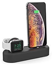 AHASTYLE 2 in 1 Charging Stand Dock Silicone Holder Station Compatible with Apple Watch Series 4 (2018)/3/2/1,(44mm/42mm/40mm/38mm),and iPhone Xs/Xs Max/Xr/X/8/8 Plus/7/7 Plus/6