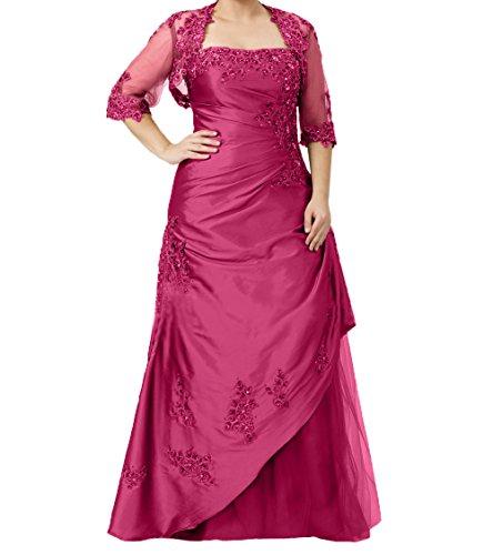 Abendkleider Langes Charmant Pink Promkleider Abschlussballkleider Langarm Etuikleider mit Damen Jaket Brautmutterkleider ACZtwqZRx